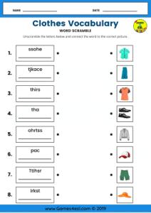 ESL Worksheet About Clothes