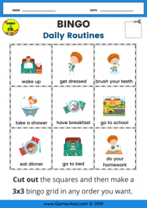 ESL Daily Routine Worksheets