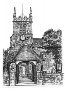 Pencil Drawing of Church