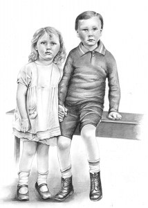 Pencil Portrait of Brother and Sister