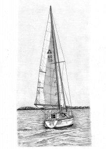 Pencil Drawing of Cobra Yacht