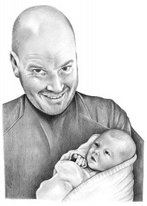 Pencil drawing of Father and Baby