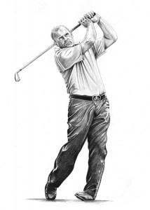 Pencil Sketch Portrait of Golfer