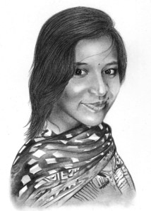 Pencil Portrait of Young Woman