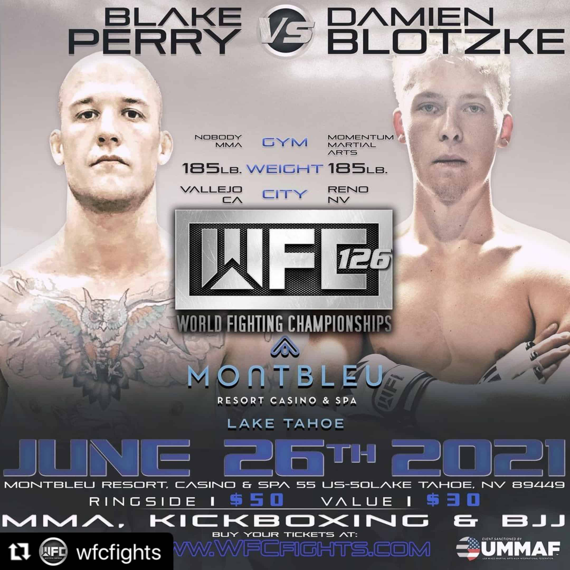 Blake Perry set to face Damien Blotzke at WFC Fights on June 26, 2021