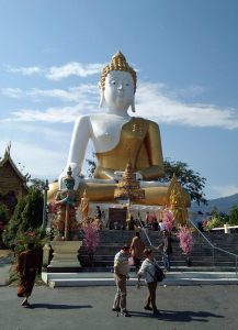 17 meter giant Sitting Buddha at Wat Doi Kham near Chiang Mai
