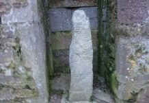 One of the Ogham Stones in St. Declan's Cathedral, Ardmore - The Irish Place