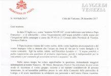 PFAS Veneto, Papa Francesco fa rispondere alle mamme e si informa