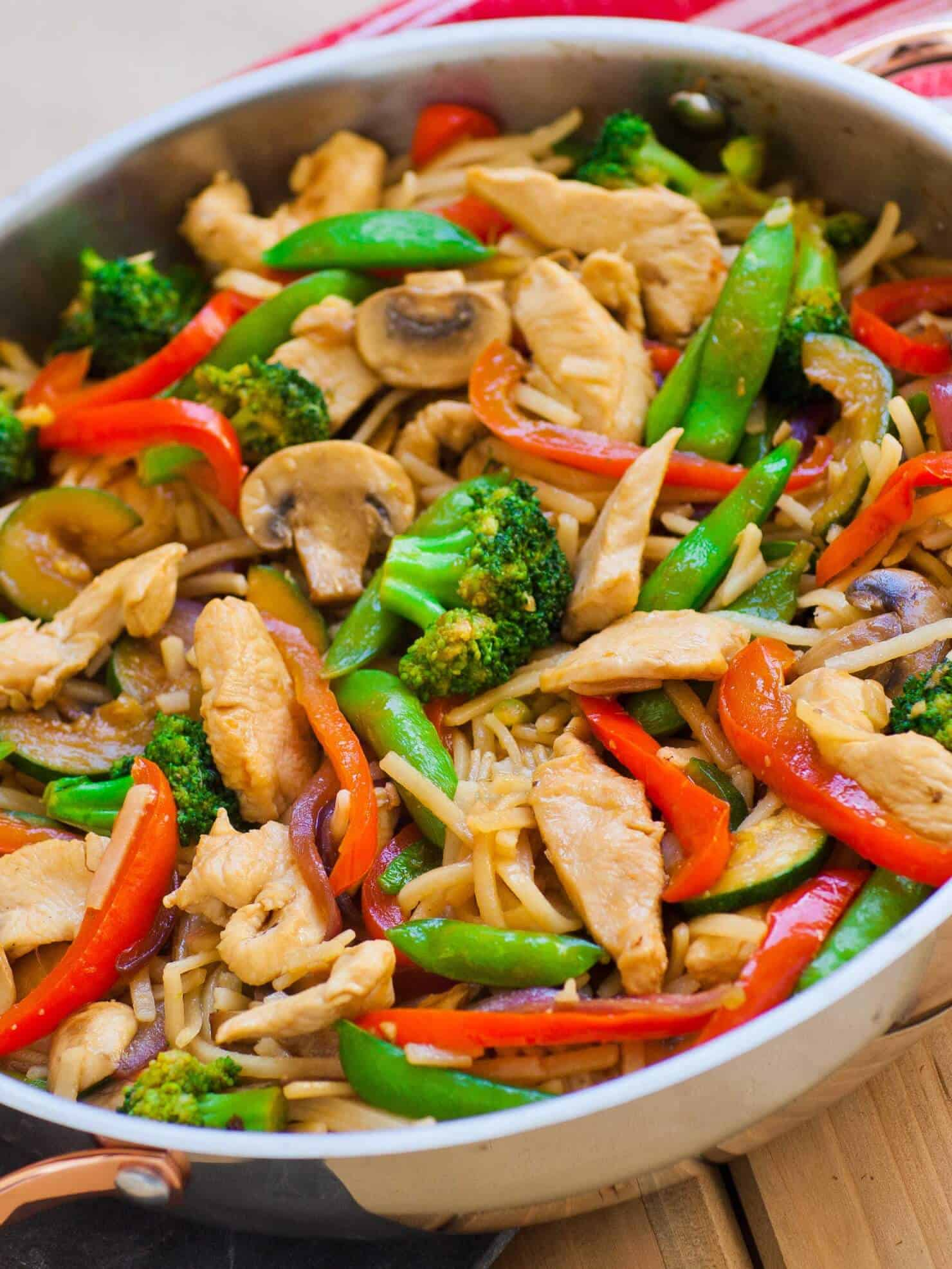 easy chicken teriyaki stir fry with vegetables and noodles