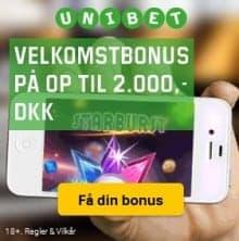 Unibet.dk Casino 20 freespins og 2000 kr gratis bonus - Danmark