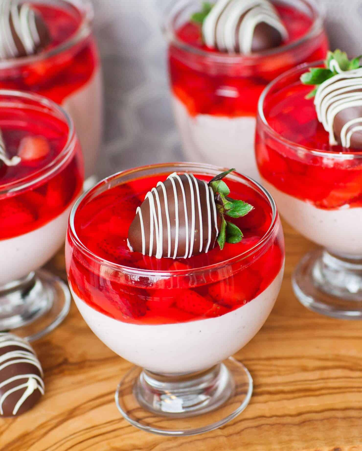 strawberry mousse parfait with chocolate strawberries