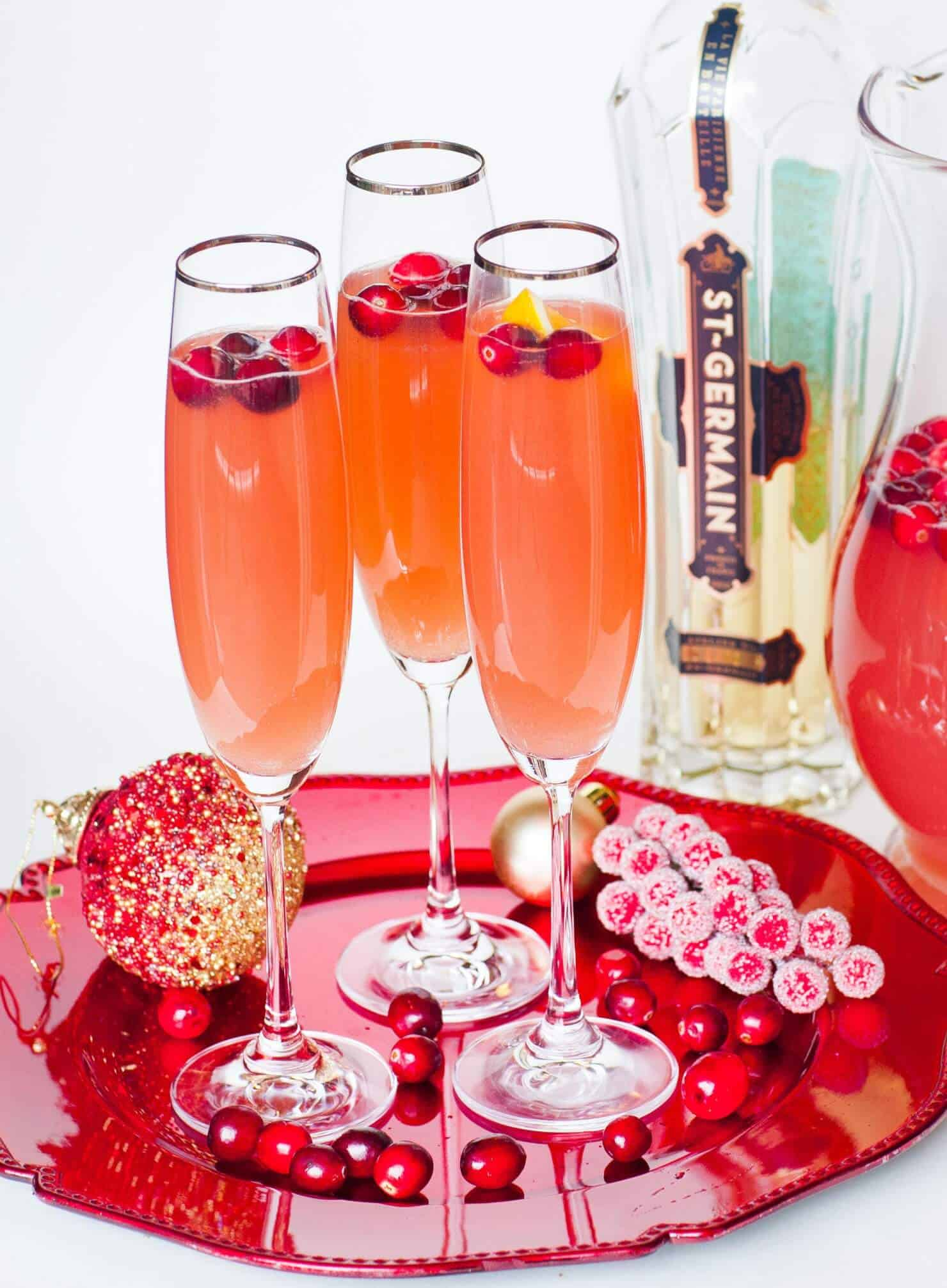 cranberry punch in champagne flutes