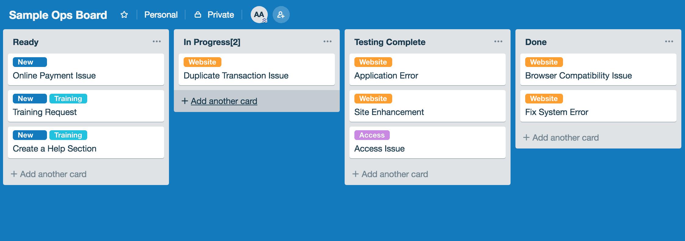 Sample Kanban Board - DevOps