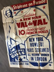 """Onesheet poster for Val de Val in """"striptease on Parade""""."""