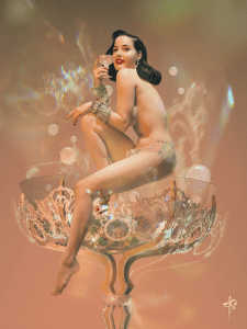 Dita Von Teese in her signature martini glass