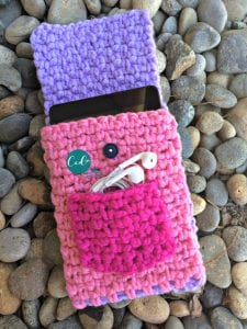 picture of pink crochet tablet cover