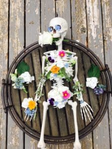 skeleton decorated with flowers