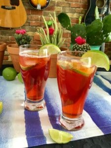 beer cocktail and lime