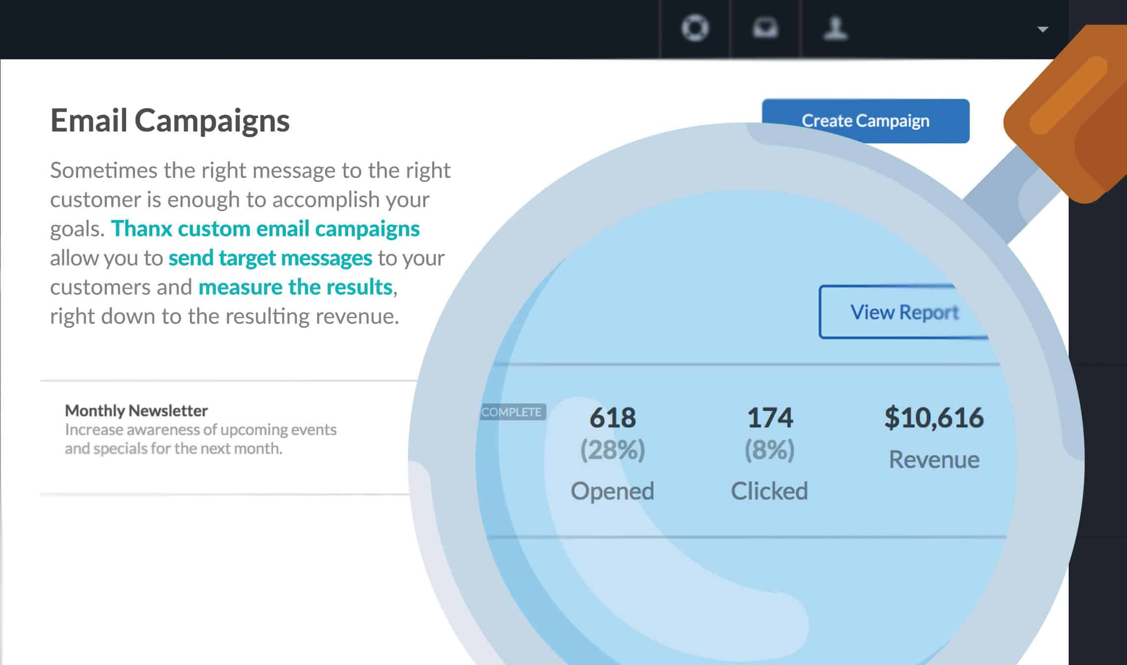 Email Campaign Revenue from Thanx