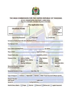 tanzania visa india - application form
