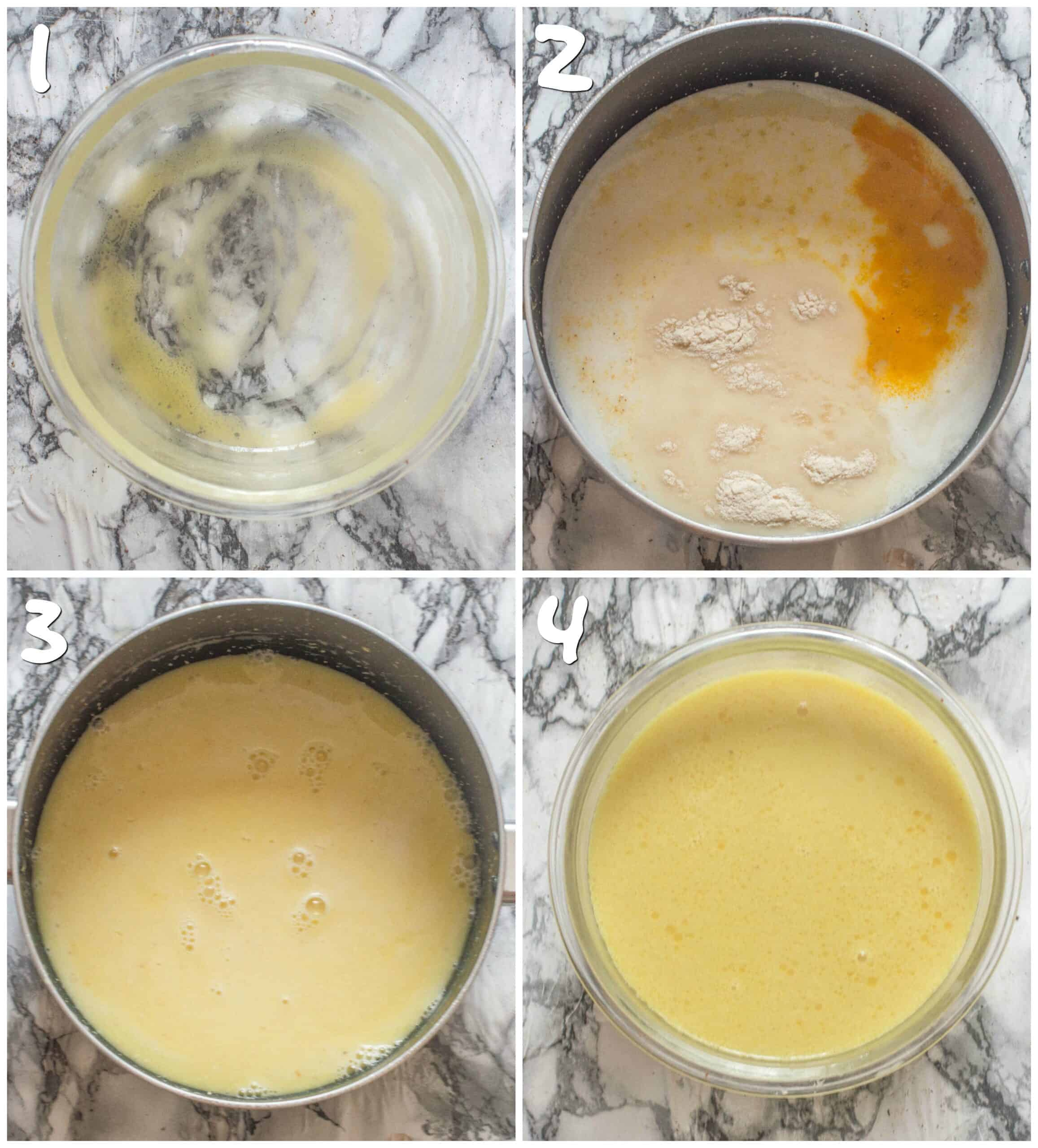 steps 1-4 boiling the ingredients to make the cheese