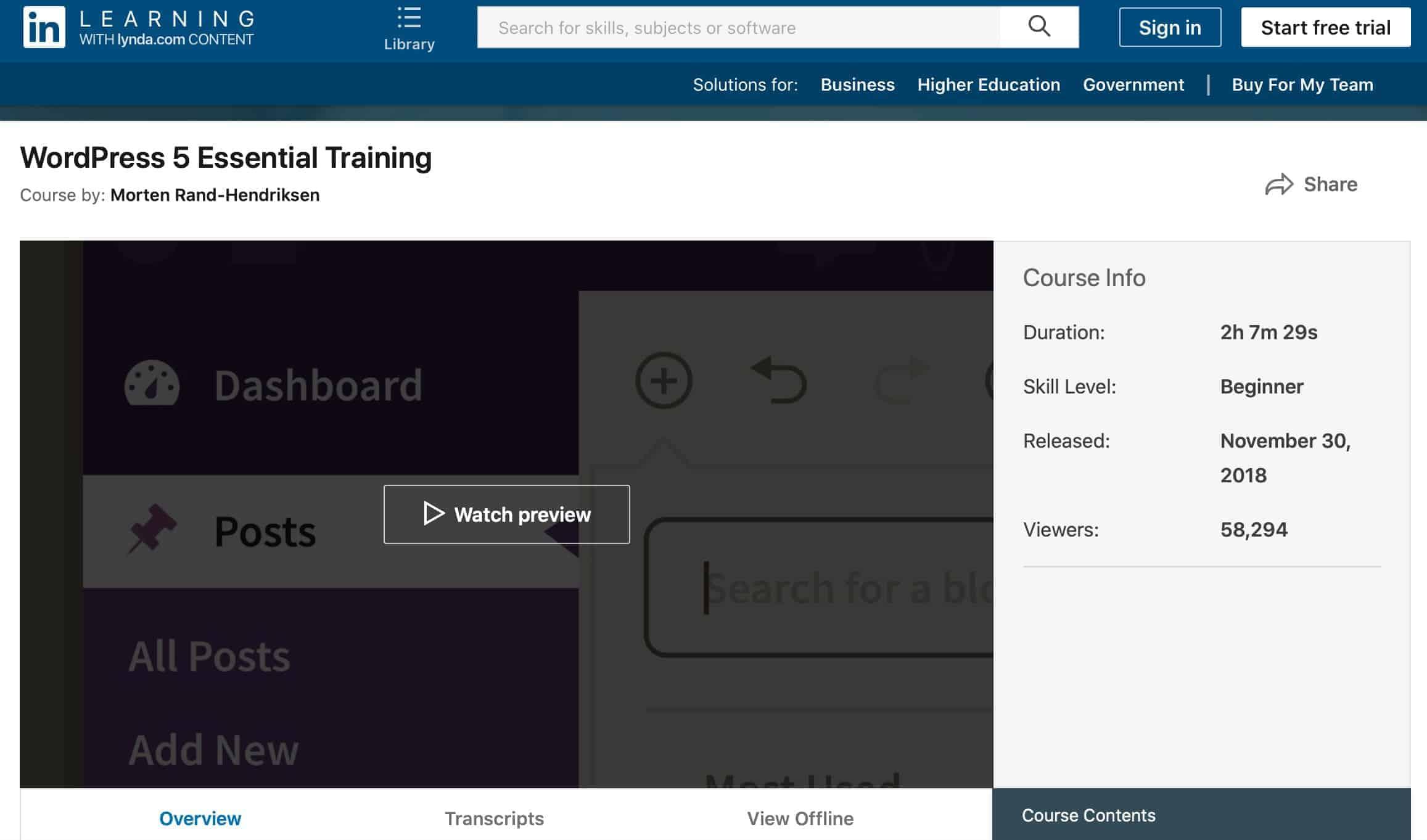 WordPress 5 Essential Training