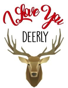 I love you deerly valentine's day printable