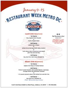 Ford's Fish Shack Restaurant Week Menu