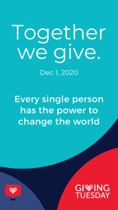 """#GivingTuesday logo """"TOgether we give"""", white text on turquoise background"""