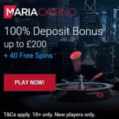 Maria Casino | 40 free spins and 100% welcome bonus | review