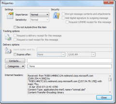 xem internet header của email trong Outlook