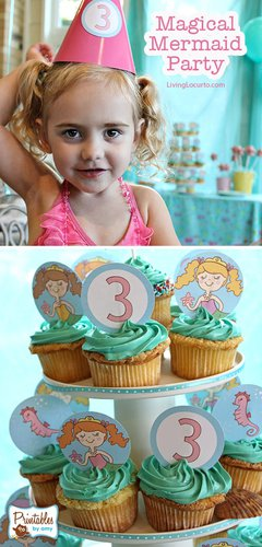 Mermaid Birthday Party Ideas for little girls. Cute recipes and printables. LivingLocurto.com