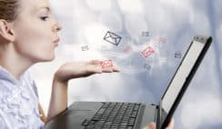 how-to-improve-email-deliverability young woman with computer. Blogger