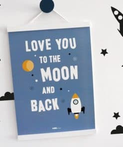 Poster Raket Love you to the Moon jeans blauw ANNIdesign 01