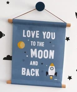 Textielposter Raket Love you to the Moon jeans blauw