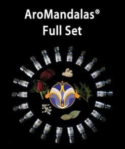 black background with circle of AroMandala® bottles