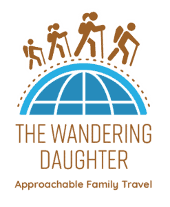 The Wandering Daughter, Approachable Family Travel - with logo of family of four hiking around the world