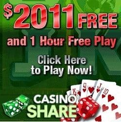 Casino Share £€$ 2011 free spins play - no deposit sign up bonus!