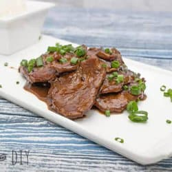 mongolian beef on a white plate