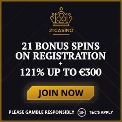 21Casino.com - no deposit bonus: 21 free spins on Book of Dead!