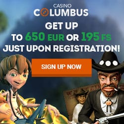 Columbus Casino   20 free spins no deposit + €650 bonus + 195 FS