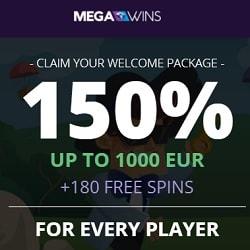 Megawins Casino 150% up to 1000€ or 1 BTC bonus + 180 free spins