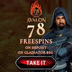78 free spins on the Gladiator and Avalon II slot