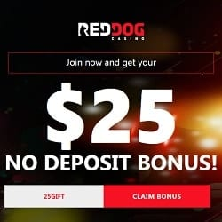 Red Dog Casino Review - $25 free chip no deposit bonus code