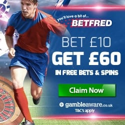 BETFRED £60 bonus in sport free bets and casino free spins