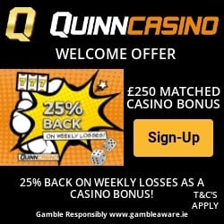QuinnBet Casino 10 free spins + 100% free bonus (UK & EU licensed)