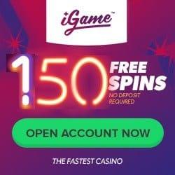 iGame Casino 150 free spins no deposit + 200% welcome bonus