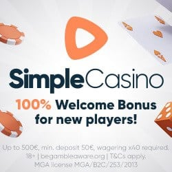 SimpleCasino 100% up to €500 bonus - instant pay and play!