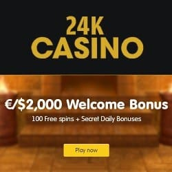 24KCasino 100 free spins and €/$2,000 welcome bonus