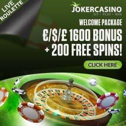 Joker Casino | €1600 gratis + 200 free spins + no deposit bonus